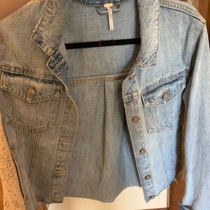 Free people jean jacket with lace